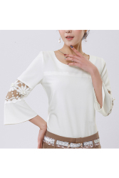Moonar Women Flare Sleeve Round Neck Lace Shirt Blouse