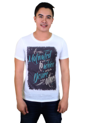 Motivate Achieve Desire Quotable Printed Shirt (White)