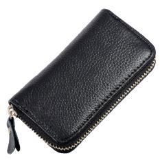 8fe98b7affd3 Multi-functional Split Leather Folding Door Key Electric Key Holder Bag  Card Coins Cash Zipper