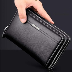 Multifunction Double Zipper Long Wallet for Men Large Capability Handbag Envelope Bag Clutch High Quality Cowhide