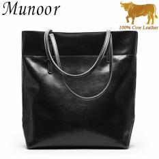 ef930b8f975 Munoor Women Handbags 100% Genuine Cow Leather Fashionable Tote Bags Casual  Shoulder Bags Purses Black