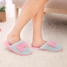 New Cute Velvet Women Lady Home Anti Slip Bowknot Slippes Indoor Shoes Sofe Warm SKY BLUE