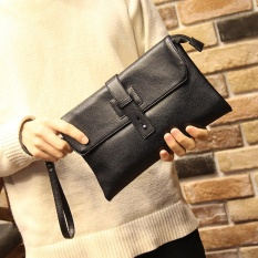 New Men Business Fashion Envelope Bag Cowhide Leather Leisure Clutch Wallet Wristlet Wrist Bag Drawstring Outdoor