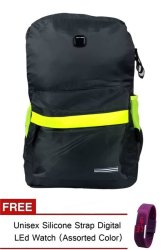 Nick 239 Backpack (Dark grey) with Free Unisex Silicone Strap Digital Led Watch (Assorted)