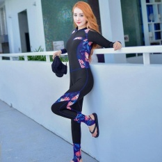 Ocean NEW Lady conjoined Diving suit Large code long sleeve Surfingclothes(Black) - intl