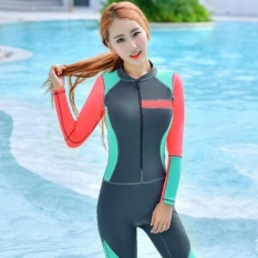 Ocean NEW Lady conjoined Diving suit Large code long sleeve Surfingclothes(Grey) - intl