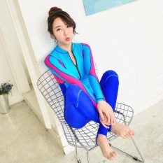Ocean NEW Lady conjoined Diving suit Long sleeve Prevent bask in abathing suit(Blue)