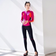 Ocean NEW Lady conjoined Diving suit Long sleeve Prevent bask in abathing suit(Red)
