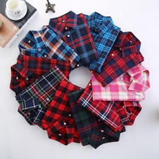 aed784a1 Ocean New Women's styles Plaid shirts Loose Long sleeved coats(Black) - intl