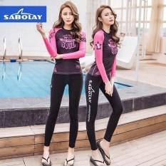 Ocean Women Surf Wear Diving suit 2PCS Bathing suit Spa swimwear Long sleeved+Pants(