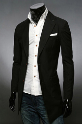OEM 8693 Men's Suit Jackets Fit Solid Casual Color Button (Black)