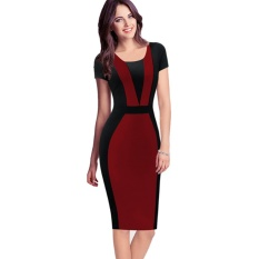 51eb0b05bdf Office dress for ladies Womens Elegant Vintage Contrast Colorblock Slim  Belted Patchwork Casual Wear To Work