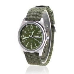 Orkina Army Men's Dark Green Nylon Fabric Strap Wrist Watch P104CA