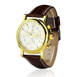 Orkina Chronograph Men's Brown Leather Strap Wrist Watch ORK-047