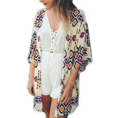 OSEM Summer Women's Floral Kimono Cardigan Blouse Top Beach Cover-up (White) -