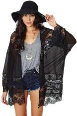 OSEM Women Floral Chiffon Shawl Kimono Cover-up Jackets (Black) - intl