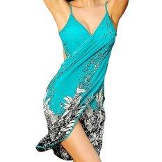OSEM Women's Deep V Neck Beachwear Ice Silk Bikini Cover up (Blue) - intl