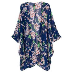 OSEM Women's Floral Print Sheer Chiffon Loose Kimono Cardigan Capes (Blue) - intl