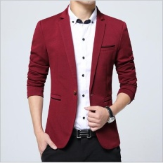 Outlet Korean Style Slim Suit Coat Western Mens Clothing Burgundy - Intl By Outlet Wf.
