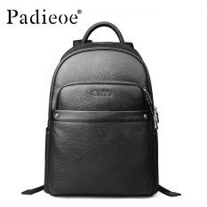 Padieoe New Arrivals Men And Women Backpack Bag Laptop Bags Genuine Leather  Youth Backpack Black High 85f066398a9d4