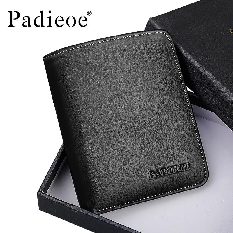 Padieoe New Arrivals Men's Wallet Casual Genuine Leather Card Holder Mini Wallets Solid Black Soft Youth