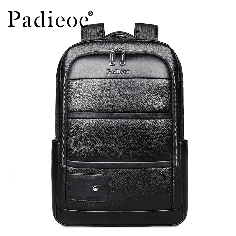 Padieoe New Fashion Men Bags Casual Genuine Leather Men s Backpack Laptop  Bag Teenagers Backpack Bag Youth e6169e5c04c54
