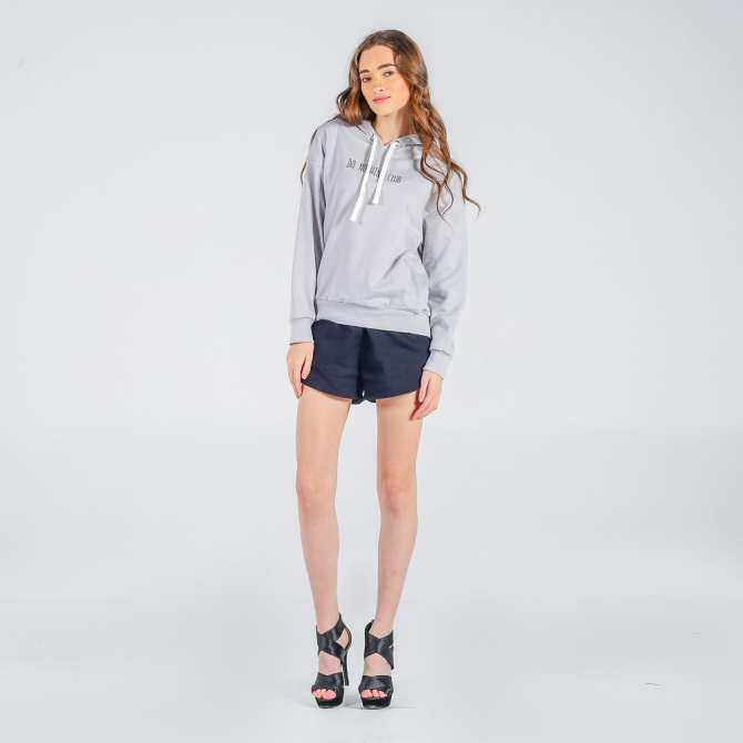 Penshoppe French Terry Hoodie With Embroidery (Light Gray)