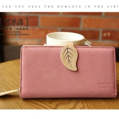 PHOEBE Leaf Hasp Wallet Fashion Leather Coin Purses Card Holders Girls Money Clutch Bag-long