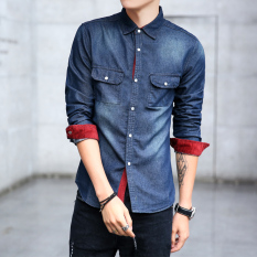 Popular brand Korean denim Men Long sleeve denim dress shirts (6803) (6803)