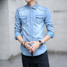 Popular brand Korean denim Men Long sleeve denim dress shirts (8005) (8005)