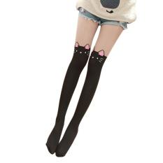 d1078e5b35b8e Popular Women Lovely Cartoon Animal Mock Knee High Tattoo Tights Pantyhose  Socks Pink Ears Cat Black