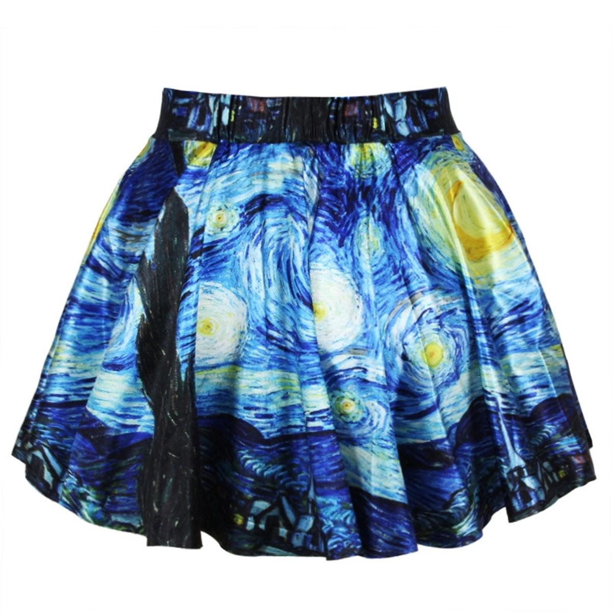 Printing Mini Skirt Short Starry Night Multicolor