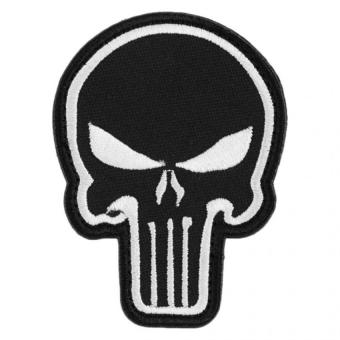 Punisher Skull Morale Embroidery Velcro Patch Tactical Armband Badge 3D White