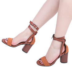 2ad5e296f Pure Color Open Toe Buckle Strap Thick High Heel Sandals(Deep brown) - intl
