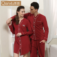 Qianxiu Brand Autumn Knitted Couples Modal Fashion Nightgown Cardigan Long  Sleeve Solid Color Top Grade Nightgown 9ffd02e8b