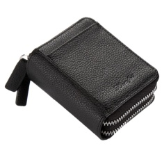 RFID Blocking Accordion Wallet Creative Litchi Pattern Double Zipper Multi-card Holder Small Purse With