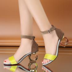 690c0285ab6 Aisijiao Women s Open Toe High Heel Sandals Black Fluorescent Yellow  (Black) (Black