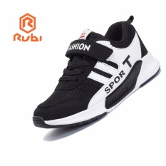 RUBI children's shoes fashion anti-skid damping soft Velcro comfortable men and women children's sports shoes flat running shoes (black) 27-38 - intl