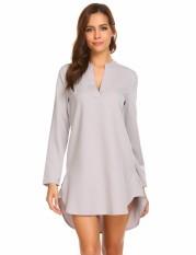 Sales New Sunwonder Women V Neck Long Sleeve Solid Sleepshirts Nightgowns  Short Sleepwear(Grey) 005ed8e91