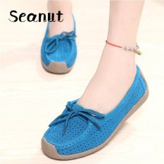 Seanut Fashion Women Casual Breathable Slip-On Leather Loafers (Blue)【Free Shipping