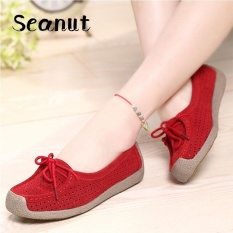 Seanut Fashion Women Casual Breathable Slip-On Leather Loafers (Red)【Free Shipping