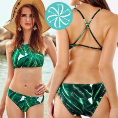 57f0f924f9083 Sexy Bikini High Neck Two Piece Criss Cross Back Swimsuit X Back Two Piece  Swimwear Leaf