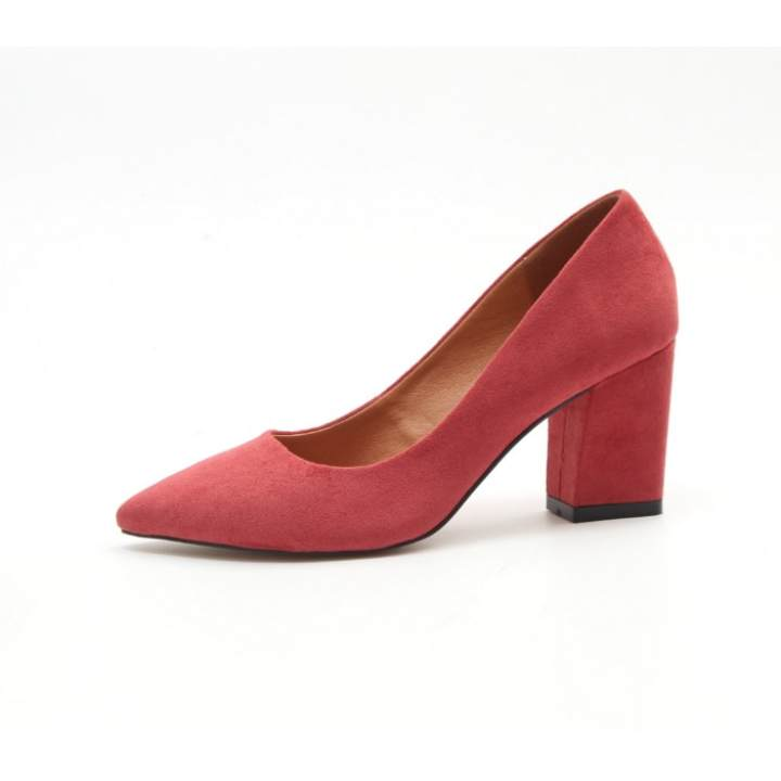 Sexy suede temperament work shoes leather shoes (Rose pink)