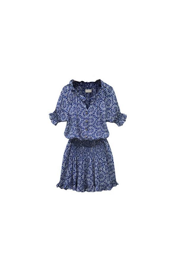 Sexy Women Paisley Print V neck Hippie Sundress Short Dress Blue - thumbnail