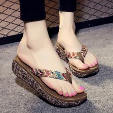 fa6c8423b Slipper women Summer Outer Wear Seaside Fashion Flip-flops Anti-slip Slanted  Heel Thick