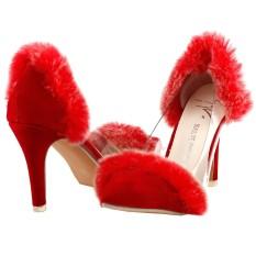 647c488dda79 SHOW STORY Glam White Faux Fur Heart Heel Wedge Wedding Slip-ons Sandals