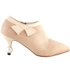 Retro Bow Pointed Toe Exquisite Pearl Heel Dress Ankle BootieLF60422