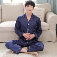 Sihanyuan Men Pajamas Spring And Autumn Long Sleeve Thin Plus-Sized Pajamas Greenish Blue Middle-Aged Summer Silk Homewear Set By Taobao Collection