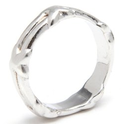 Silverworks R42716 Band Ring with X Surrounding Ring (Silver)