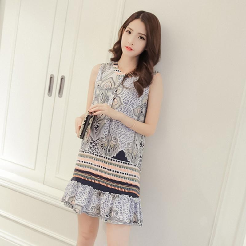 JinMeiStore Maternity Korean Round Collar Print Sleeveless Chiffon Loose Ruched Dress - intl